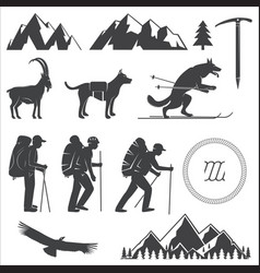 set of alpine club icon vector image