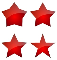 Set Of Red Glossy Stars Icon Design vector
