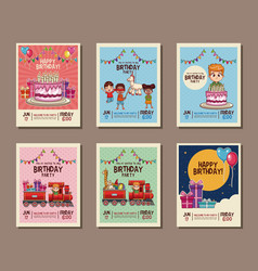 Set on birthday kids party invitation card vector