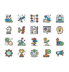 set startup color line icons megaphone stamp vector image
