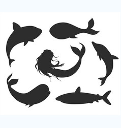 set underwater life silhouettes with mermaid vector image