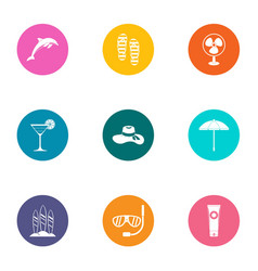 Shoreline icons set flat style vector