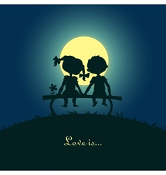 Silhouettes boy and girl vector