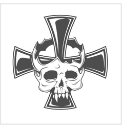 Skull and German cross vector