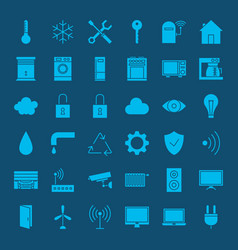 Smart home solid web icons vector