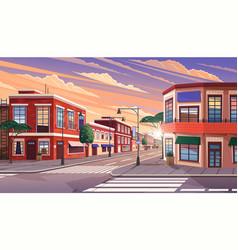street town at morning vector image