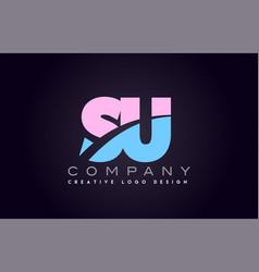 su alphabet letter join joined letter logo design vector image