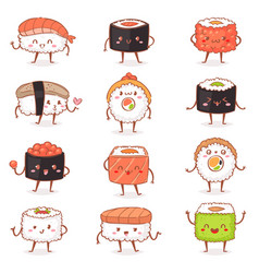 sushi kawaii japanese food sashimi roll vector image