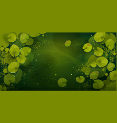 Swamp or lake top view with nenuphars water lily vector