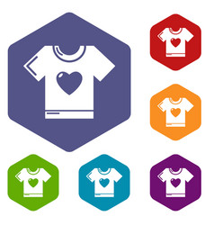 T-shirt heart icons hexahedron vector