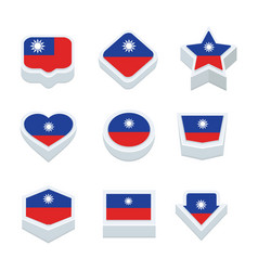 taiwan flags icons and button set nine styles vector image