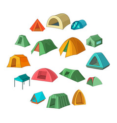 tent forms icons set cartoon style vector image