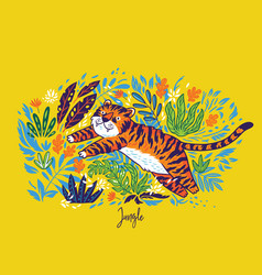 Tiger is jumping in tropical garden vector