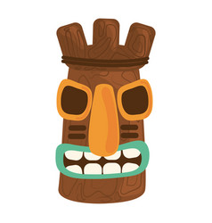 Tiki tribal wooden mask isolated on white vector