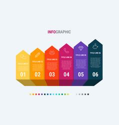 timeline infographic design 6 steps vector image