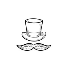 top hat with mustache hand drawn outline doodle vector image