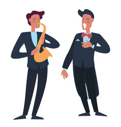 trumpet player accompanying man singer with opera vector image