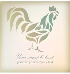 Vintage floral rooster on background vector