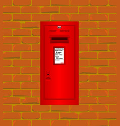 Wall mounted red post box vector