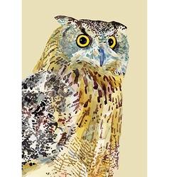 Watercolor painting bird owl vector
