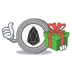 with gift eos coin character cartoon vector image