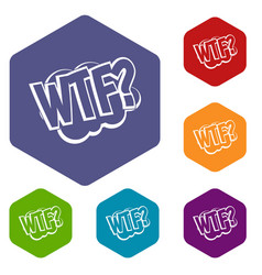 Wtf comic book bubble text icons set hexagon vector