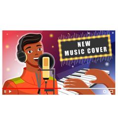 young african american man in headphones singing vector image