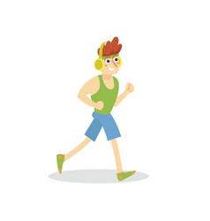 young man with headphones running in sportswear vector image