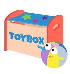 A happy ball next to a toybox vector