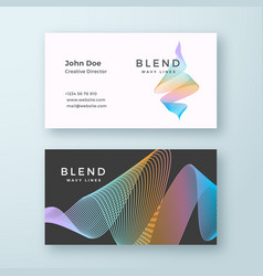 abstract blend wavy business card template vector image