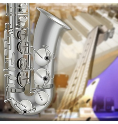 abstract music gray background with saxophone and vector image vector image