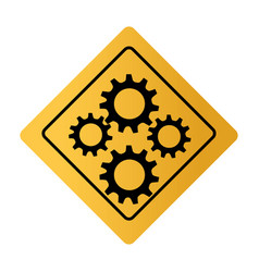 color square road sign with gear wheels vector image