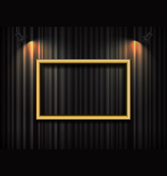 gold frame with spotlight on curtain background vector image