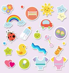 baby stickers kids children design elements for vector image vector image