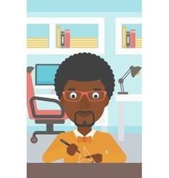 Man using three D pen vector image