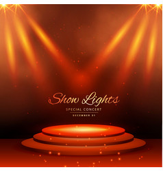 show spot lights with podium background vector image