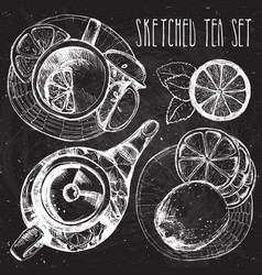 tea hand draw set - teapot cup and spoon with vector image vector image
