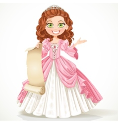 Cute young princess with curly brown hair hold a vector image