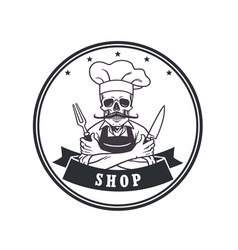 dead skull chef grinning logo template circle vector image vector image