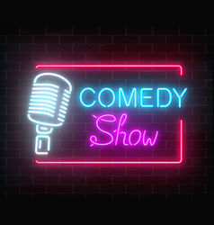 neon comedy show sign with retro microphone on a vector image vector image