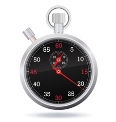 Retro mechanic chromed stopwatch vector image vector image