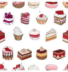 Seamless pattern wit different kinds of dessert vector image vector image