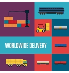 Worldwide delivery icon set vector image