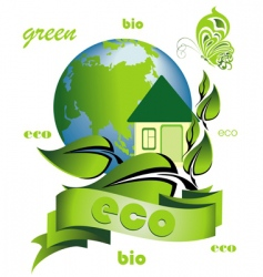 ecology background with ecological home vector image vector image