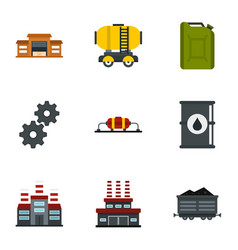 oil and petrol icons set flat style vector image vector image