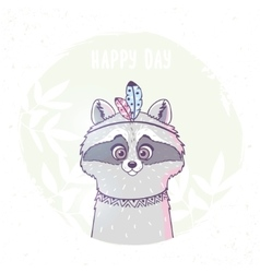 racoon cute character vector image