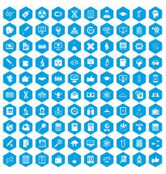 100 analytics icons set blue vector