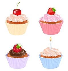 4 cupcakes vector image
