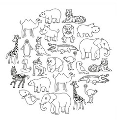 aanimals black and white icons graphic in the vector image