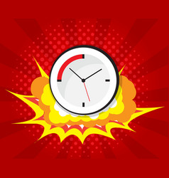 abstract boom with clock comic book pop art vector image